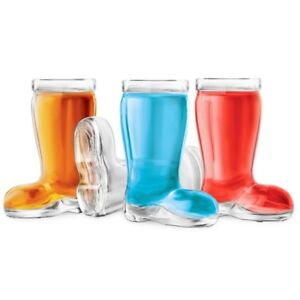 Final Touch Boot SHOT GLASSES Novelty Glass Shaped Party Shooter Bar Set of 4 UK