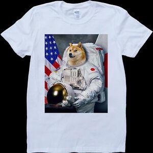 Astronaut Men's Doge Funny ShirtEbay Made WhiteCustom T mN8n0w