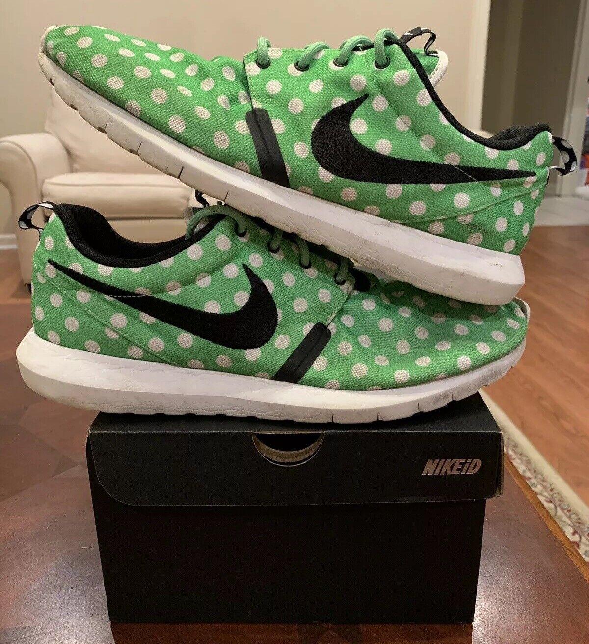 Nike Men's Roshe Polka Dot Green 13 Run MN QS 810857-300 White Streak City Pack