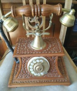 Antique-Style-Carved-Wood-And-Brass-Telephone