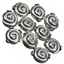 Antique Silver Snail Shell Swirl Round Beads 15mm Pack of 10 (C81/1)