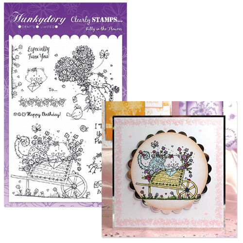 HUNKYDORY Clearly Stamps KITTY IN THE FLOWERS A5 Acrylic CLEARLY Purrfect Cat