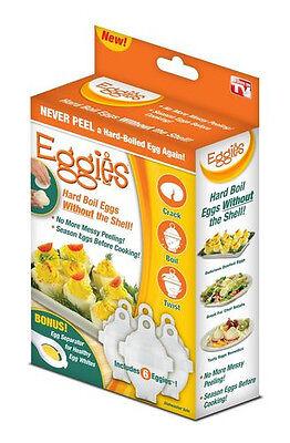 Eggies Hard Boil Boiled Eggs Cooker  6 Eggies with Bonus Egg White Separator