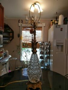 Antique Crystal Pineapple Table Lamp 100 Restored Ebay