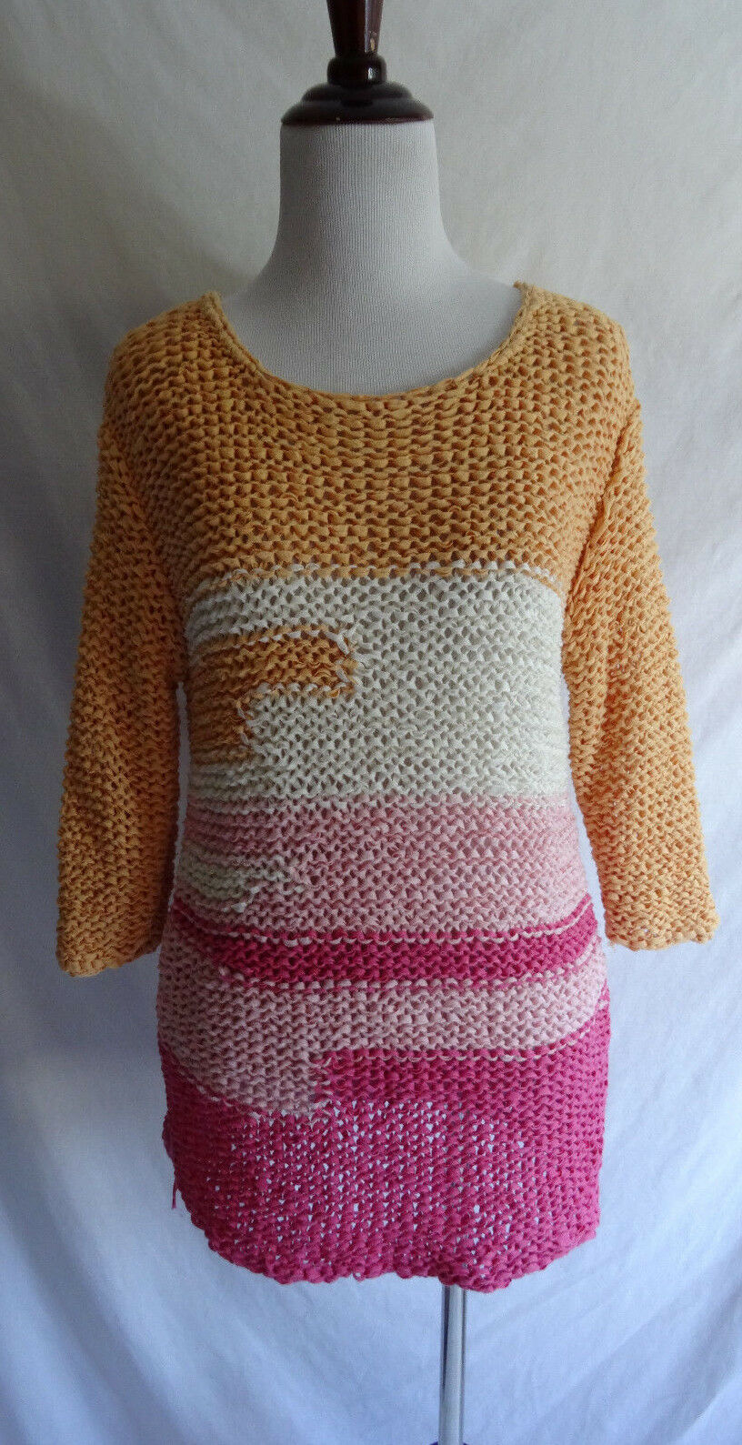 J. Jill Small Pink orange White Open Knit Tape Yarn Woven Beach Sweater Cover Up