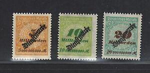Sellos De Alemania Imperio   1923   Sellos Oficiales   incompleta MH og   SG O342-348