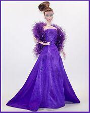 Handmade DOLL Fashion PURPLE Gown Boa & Heels *Fits Silkstone & Vintage BARBIE