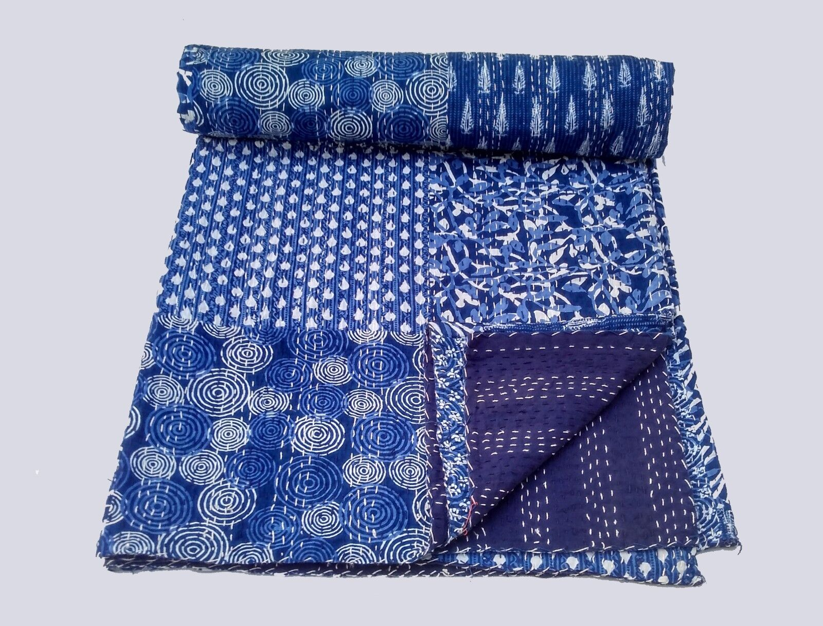 bluee Indigo Cotton Patchwork Print Kantha Quilt blanket bedspread throw queen