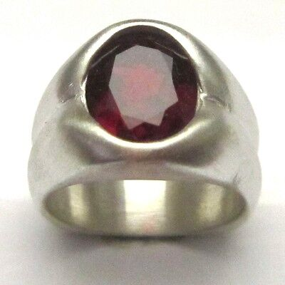 MJG STERLING SILVER MEN/'S RING SIZE 10. 12 x 10mm OVAL FACETED LAB RUBY