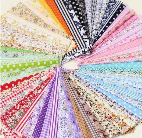 50Pcs Cotton Fabric Bundle Patchwork Quilting Sewing Crafts Scrapbook 10CMX10CM