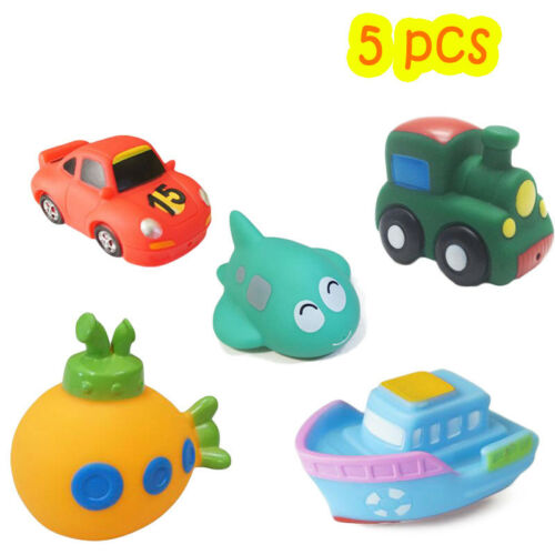 Creative 5 Style Car Airplane Boat Vehicle Soft Rubber Baby Wash Bath Play Toy