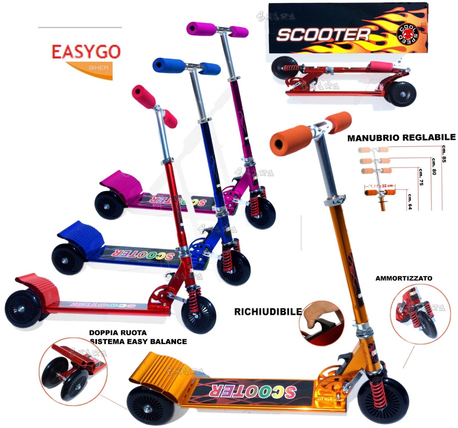 SCOOTER ALUMINUM 3 wheels system TWIST BALANCE weight max 50 kg resealable