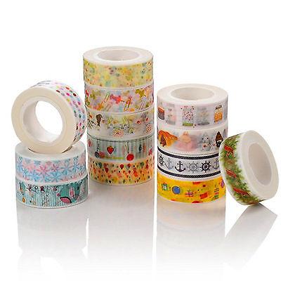 5 PCS 1.5cm×10M DIY paper Sticky Adhesive Sticker Decorative Washi Tape Random
