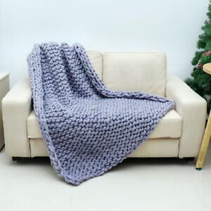 Handmade-Large-Luxury-Chunky-Knit-Blanket-Wool-Thick-Yarn-Knitted-Throw-Bed