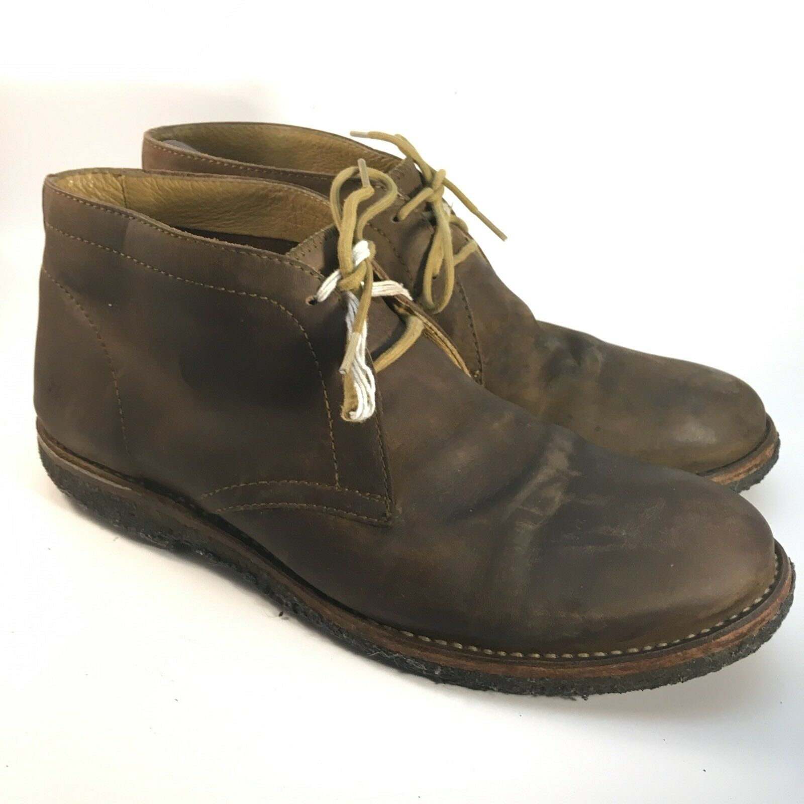 Mens FRYE 11.5 D Desert Boots Chukka Distressed Leather Brown Lace Up