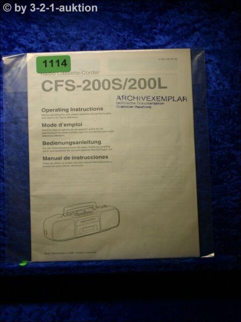 Sony Manual Cfs 200s  6762 8oz Cassette Corder  1114