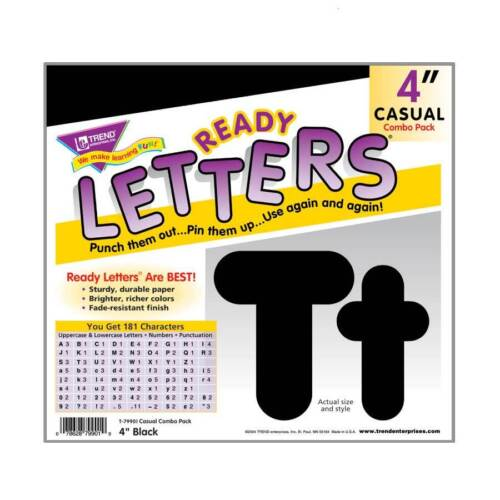"""Black 4/"""" Combo 181 Classroom display board Trend Ready Letters"""