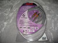 Rca Digital Audio Video Cable 24k Hdtv Dvd Satellite Vcr Av Receiver 6 Ft
