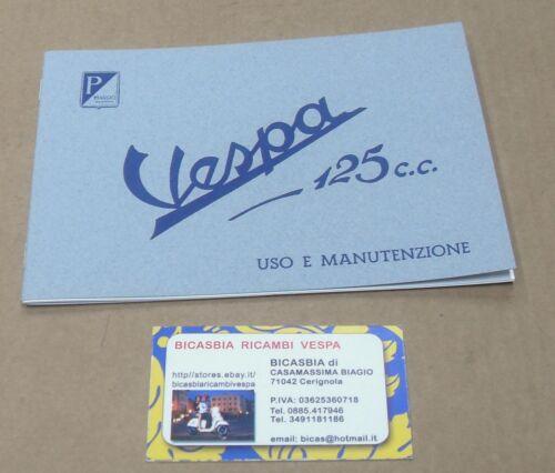 1378 LIBRETTO USO E MANUTENZIONE VESPA 125 DAL 1951 AL 1952