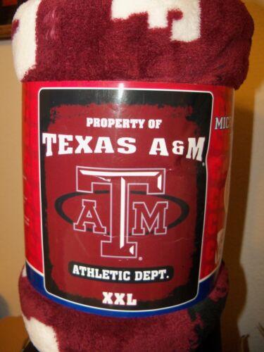 """Texas A/&M A /& M Aggies Football Burgundy Soft Micro Blanket Throw 50/"""" X 60/"""" NIP"""