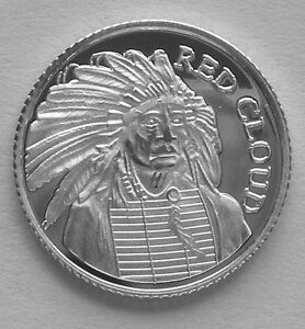 10 1 Gram 0 999 Pure Silver Red Cloud Cheif Of The