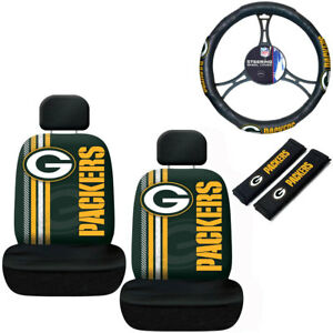 NFL Green Bay Packers Car Truck Seat Covers Seatbelt Pads Steering