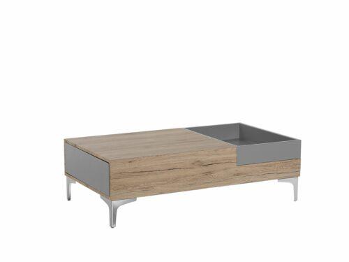 Moderner Cuchtisch mit Schublade und abnehmbarem Abstellbox braun Williams