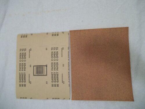 "50 Sheets in Unopened Package 80 Grit Garnet Sandpaper 9/"" X 11/"""