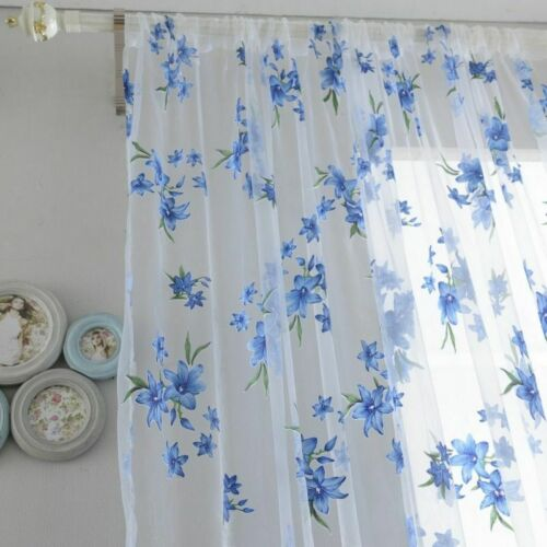 Sheer Curtains Window Living Room Bedroom Drapes Floral Panel Treatments Curtain