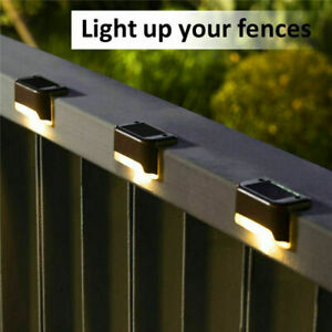 4//8 Pcs Solar LED Deck Lights Outdoor Path Garden Stairs Step Fence Lamps BLK BR