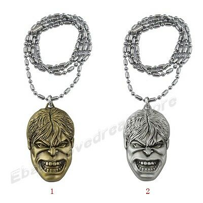 """The Avengers The Incredible Hulk 3D Face Mask Pewter Metal 28"""" Necklace"""
