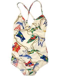 Hermes-Authentic-Vintage-80s-1-Piece-Swimsuit-Bodysuit-Colorful-Flags-40-US-XS