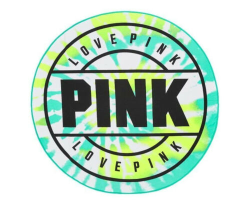 "NIP Victoria Secret Love PINK 55/"" Round Beach Towel Blanket GREEN Tie Dye"