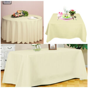 Round Square Rectangle Table Cloth Wedding Party Ivory Small Size 48 54 58 Inch - What Size Is A Rectangular Party Table