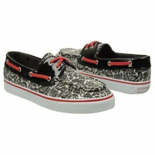 Sperry Women's Biscayne Black White Floral Print Leather Shoes SIZES! NIB NEW