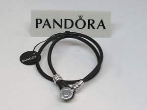 ebebfeeb4 New Pandora Medium Black Double Leather 15 In 38 CM Bracelet ...