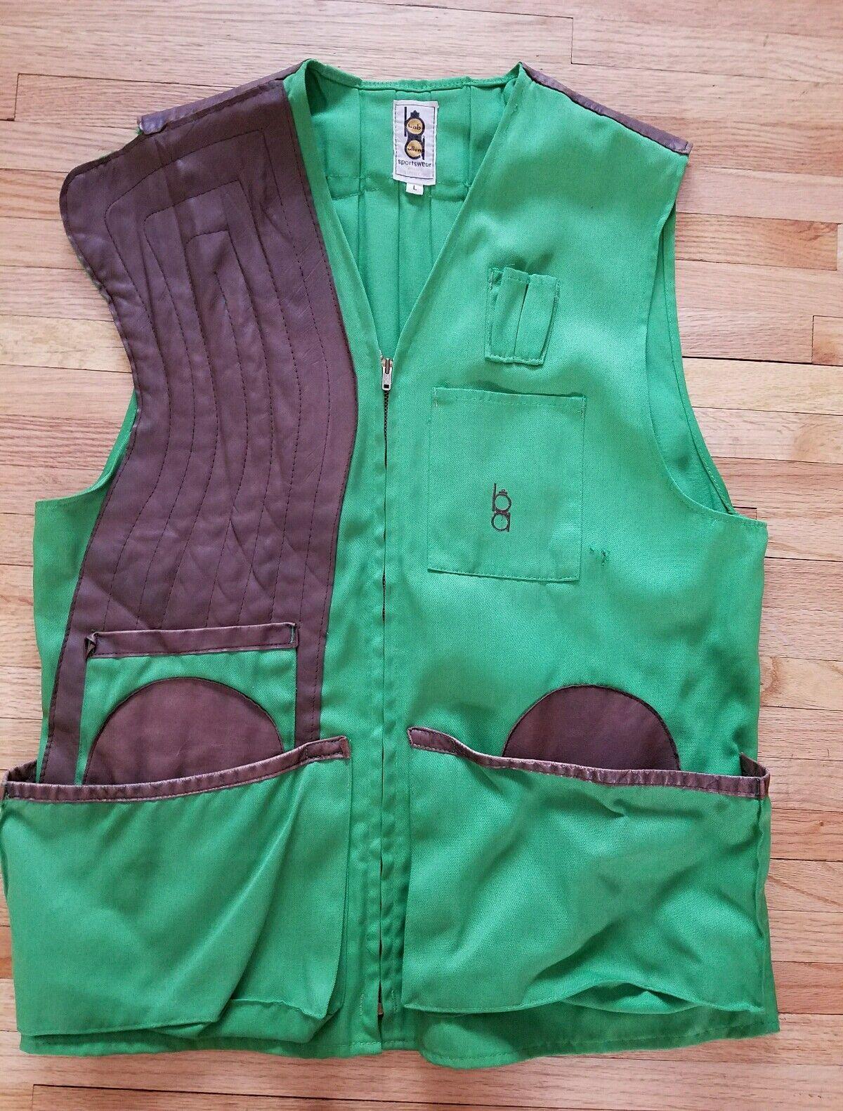 Vintage Bob Allen Green Hunting Vest Mens Size Large Made in USA