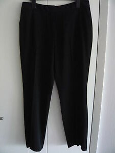 Elegante-Damen-Hose-mit-dezentem-Glanz-Gr-44-Farbe-schwarz-Guertelschlaufen