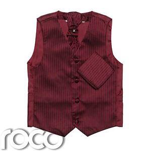 Boys Wine waistcoat, boys Cravat, boys Striped waistcoat, Page Boy Waistcoats