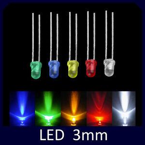 20pz-LED-3mm-Diodi-Punta-Colorata-BIANCHI-BLU-ROSSO-VERDE-GIALLO-luce-arduino