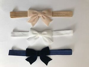 Velvet Bow Baby Girl Headband Soft Elastic Band Glitter Newborn ... e5193244cad