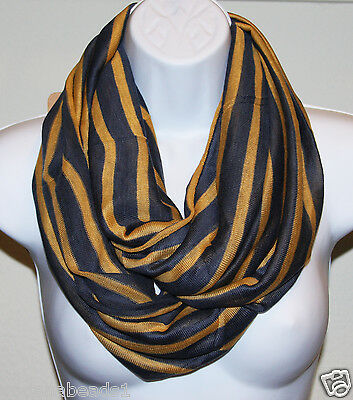 Women Fashion two tone knit striped Forever Infinity Scarf  yellow Blue