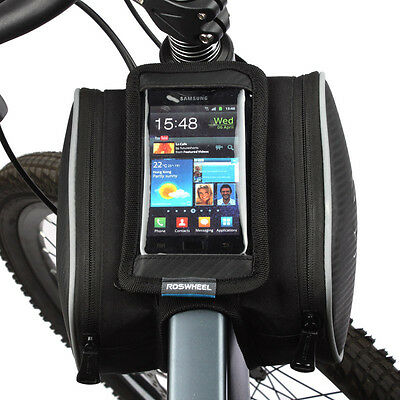 """Roswheel Cycling Bicycle Front Top Tube Frame Double Bag for 4.8""""Cellphone Phone"""