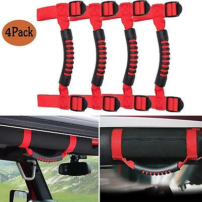 2pcs of Red ATV UTV Roll Bar Adjustable Straps Grab Handle Hand Holds,Hand Hold