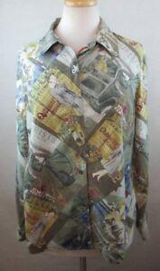 KATE-HILL-Womens-Button-Down-Shirt-Large-Silk-Scenic-Tourist-Print-VTG-A214