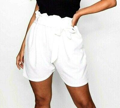 **new 2019 Look White Paperbag Plus Size & Curve High Waist Paper Bag Shorts** Einen Effekt In Richtung Klare Sicht Erzeugen
