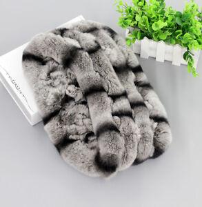Unisex Real Rex Rabbit Fur Handmade Infinity Scarf Scar
