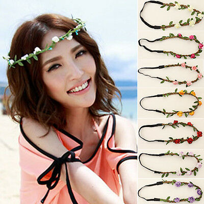 Fashion Women Faux Leather Flower Head Chain Jewelry Headband Piece Hair Band