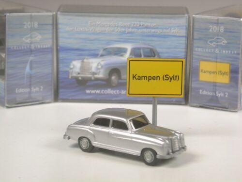 Wiking c/&i colección mercedes 220 Ponton en plata metálica Sylt Edition 2