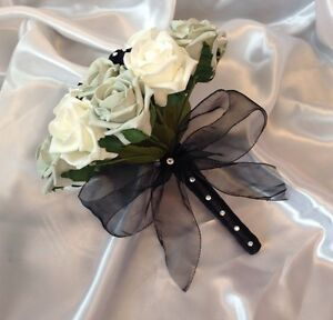 Image Is Loading Wedding Flowers Artificial Ivory Silver Black Rose